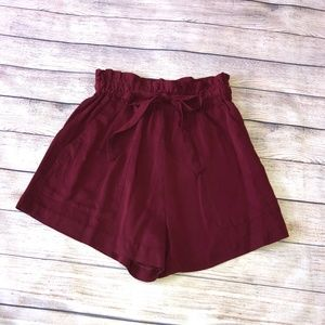 H&M Conscious Maroon Paper Bag Shorts Size 8